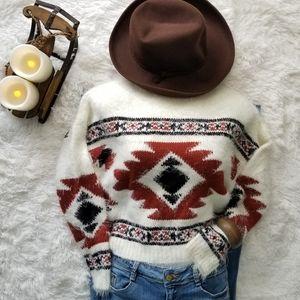 Soft & Cozy Aztec Print Eyelash Sweater Semi-Crop